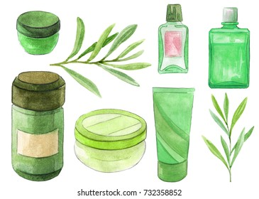 Set of cosmetic container with green leafs. Natural and organic cosmetic concept. Watercolor illustration