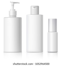 set of cosmetic products on a white background. Cosmetic package collection for cream, soups, foams, shampoo. 3D illustration.