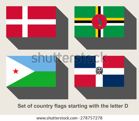 set country flags starting letter d stock illustration 278757278
