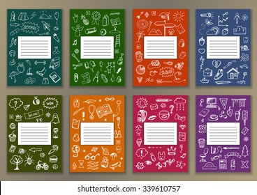 Set Covers with hand drawn ink school doodles. Illustration for typography banners, posters, fliers, cards, covers, brochures