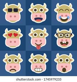 Set Cow Emoticons - Cute - Chatting - Emoji