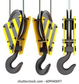 Set of crane hooks. Isolated on white. 3D Illustration
