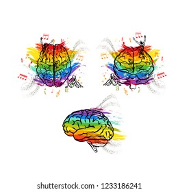 Set of creative human brains in different views, right hemisphere functions concepts on white
