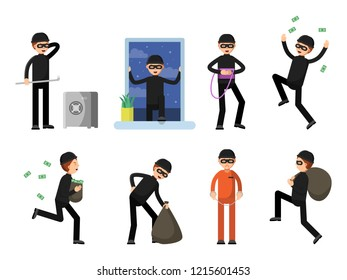 Set of criminal characters isolate on white. criminal character, man crime burglar, thief and robber illustration