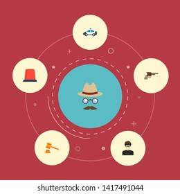Set of criminal icons flat style symbols with criminal, detective, flasher siren and other icons for your web mobile app logo design.
