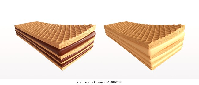 Set of crispy wafers with chocolate and milk, wafer design element, 3d illustration.