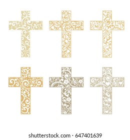 Set of crosses isolated on White background. Christian Symbol.  illustration