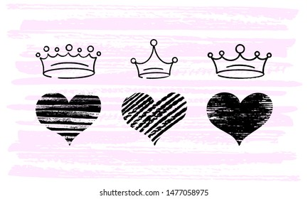 Set of crown icons for young prince or princess. Illustration doodle style for Queen and King. Sketch ink brush doodle crowns  on pink background