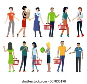Set of customers and sellers characters  templates. Flat style design. Man and woman making purchases and sell goods. Supermarket personnel, consumer choice and shopping in mall concept.