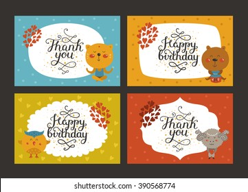 Set of Cute animal cards with lettering and baby animals in love. Cat, bear, owl, merinos. Greeting animal card, Thank you, Happy birthday