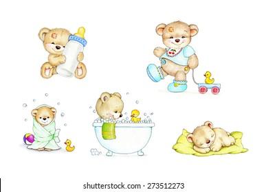 Set of cute baby Teddy bears
