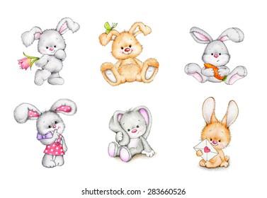 Set of cute bunnies