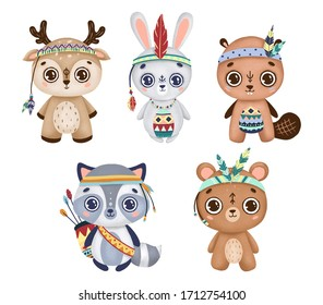 Set of cute cartoon forest animals in boho style with feathers and tribals on a white background. Deer, rabbit, beaver, raccoon, bear.