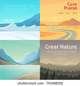 Set Cute Cartoon landscapes with mountain. collection of nature