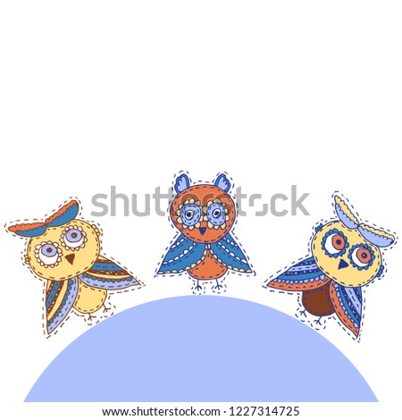 fcee37e9e Set Cute characters Cartoon owls and owlets birds sketch doodle dark blue  red burgundy isolated on