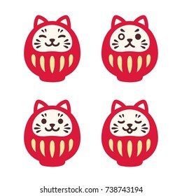 Set of cute Daruma dolls with kawaii cat face. Traditional Japanese good luck symbol. Simple and modern illustration.