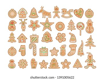 Set of cute decorated christmas cookies. Traditional holiday dessert. Colorful gingerbread. Isolated  illustration
