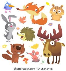 Set of cute forest animals illustration. Cartoon bird, hedgehog, beaver, bunny rabbit, chipmunk, fox, mouse and moose elk