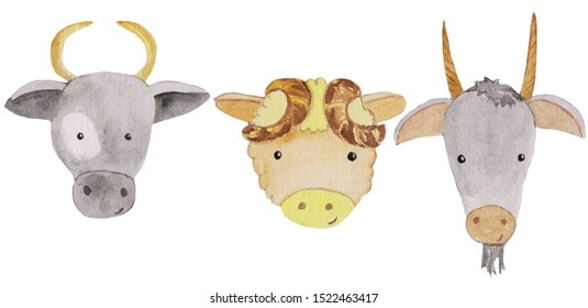 Set of cute funny portraits of a cow, a sheep and a goat. watercolor illustration for prints, posters, cards, design