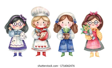 Set of cute girls characters hand-drawn by watercolor, isolated on white background. Seamstress, confectioner, gardener and florist hand-drawn in a cute style