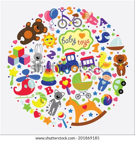 5663fc9e95af Set Cute Items Toys Small Child Stock Illustration - Royalty Free ...