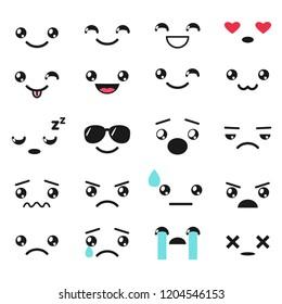 set of cute kawaii emojis