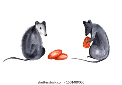 Set of cute little mouse or rat with spikelet, cheese and nuts. Watercolor isolated illustration.