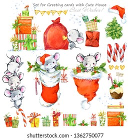 Set of cute mouse cartoon characters. Happy New Year. watercolor funny mice illustration. Chinese symbol of the 2020 year.