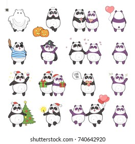 Set of cute panda character with different emotions, isolated on white background. Holidays set: Christmas, Halloween, Saint Valentine's Day.