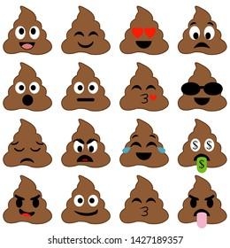 Set of cute poop happy poop emoji emotional piles of poop