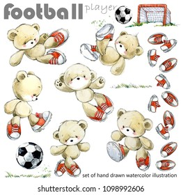 Set of cute teddy bear football player watercolor illustration.