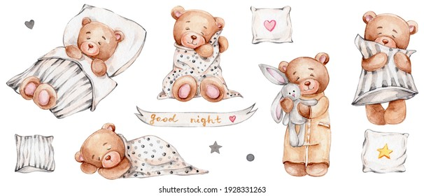 """Set of cute teddy bears, pillows and lettering """"good night""""; watercolor hand drawn illustration; can be used for baby shower or postcards; with white isolated background"""