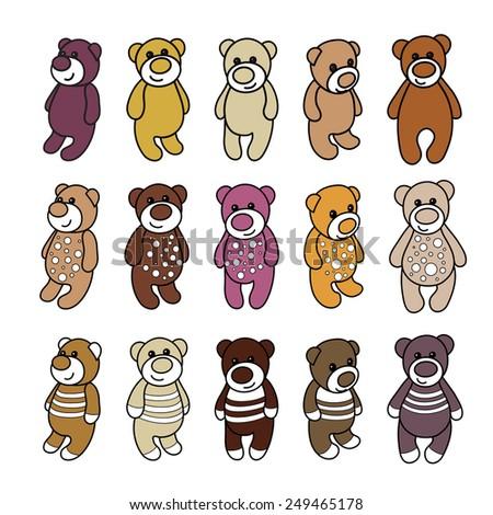 set cute teddy bears template manufacture stock illustration