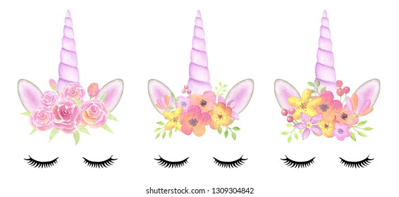 Set of cute unicorn faces isolated on white background. Perfect for greeting cards and party invitations.