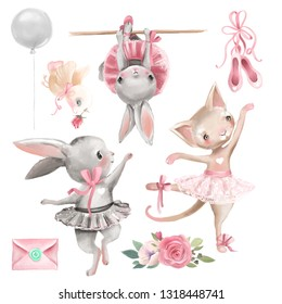 Set of cute watercolor ballerina animals, ballet theme design elements. Bunny and kitten ballerina, cute bird, ballet shoes, flowers, balloon and letter (envelope)