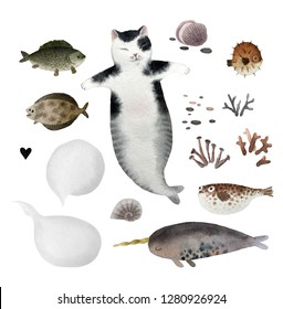 Set of cute watercolor cat mermaid and fishes isolated on white background for design, postcards, banners.