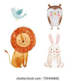 Set of cute watercolor illustrations of animals, isolated object on white background, Cute lion, owl, rabbit and flying bird