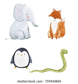 Set of cute watercolor illustrations of animals, isolated object on white background, Cute sitting elephant, fox, the snake and the penguins