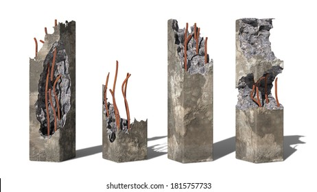 set of damaged concrete pillars isolated with shadow on white background (3d render)