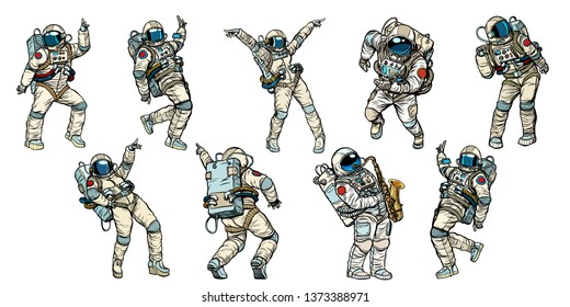 Set of dancing astronauts collection. Comic book cartoon pop art retro  illustration vintage kitsch