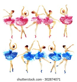 Set dancing ballerina in blue and pink