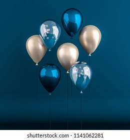 Set of dark blue and golden glossy balloons on the stick with sparkles stars on dark background. 3D render for birthday, party, wedding or promotion banners or posters. Realistic illustration.