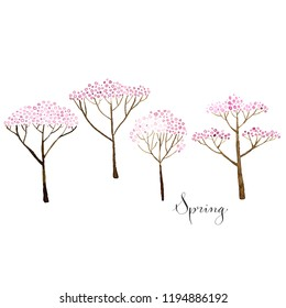 Set of deciduous trees with watercolor foliage, hand drawn isolated natural elements. Spring.