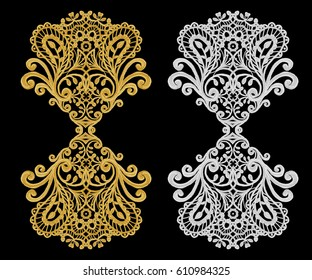 set of decorative elements. Shiny gold and silver curls, Arabic motif, arabesques. Isolated.
