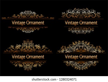 Set Decorative Golden Frames with Floral Pattern, Flowers and Butterflies Silhouettes on Black Background.