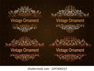 Set Decorative Golden Frames with Floral Pattern, Flowers and Butterflies Silhouettes on Night Starry Sky Background.