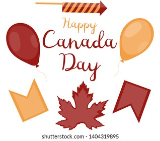 Set of decorative objects for Canada Day. Red balloon, yellow balloon, red flag, yellow flag, squib, maple leaf and the inscription on a white background. Illusration.