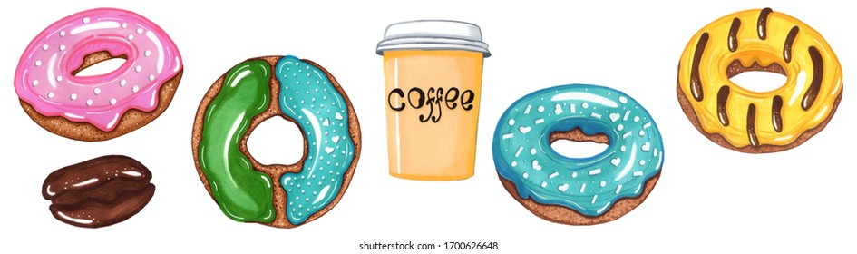 set of delicious donuts on a white background, coffee