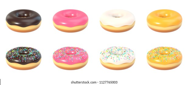 Set of delicious donuts with or without sprinkles and sweet icing, isolated on white background. 3D illustration