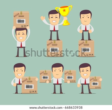 Set delivery service man box stock stock illustration 668633938 set of delivery service man with box stock collection illustration for poster greeting m4hsunfo